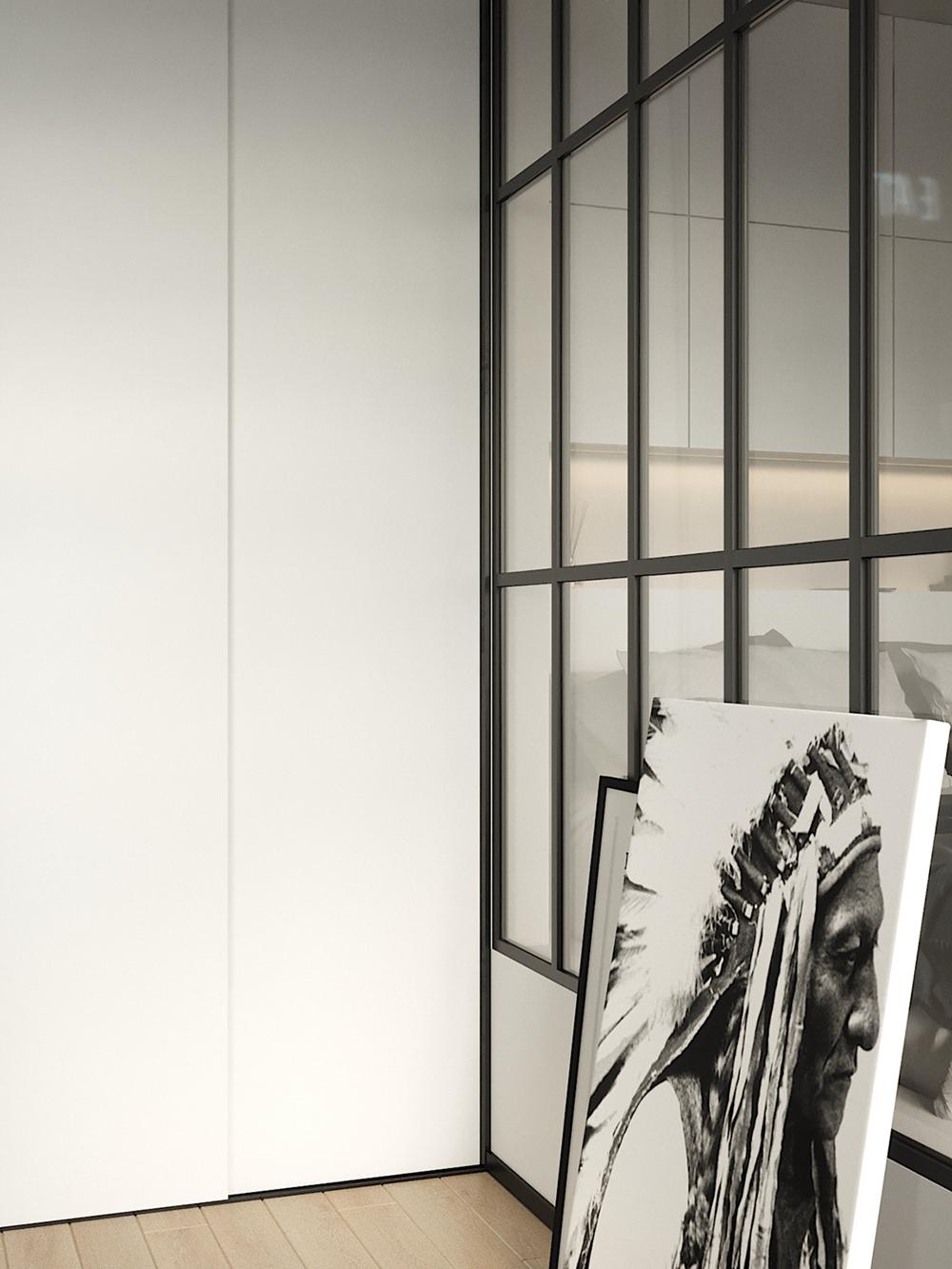 梳妆台选址巧妙,提高了室内利用率,艺术画点缀为空间增加文艺气息。