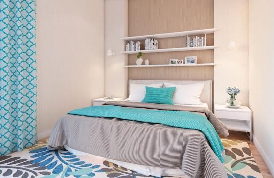 大地色系于蓝色的搭配延续到卧室,营造出惬意舒适的氛围。