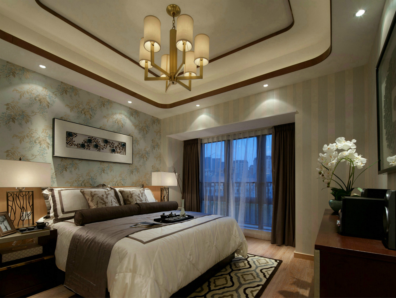 主卧以米白色为基础色,配色舒适自然。宁静的空间增添了几分生动气息