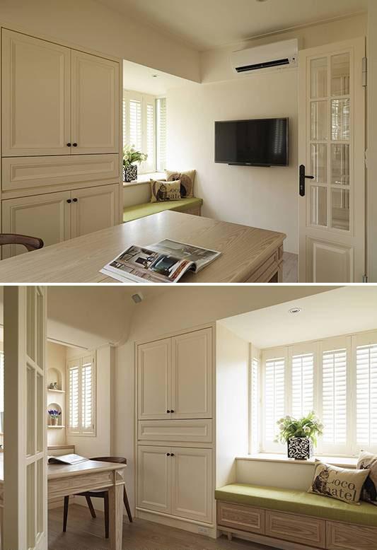 收纳DVD,杂物的柜体以美式线板细致收边,而窗台旁的舒适卧榻下方,亦有收纳空间。 11结合梳妆台、梳