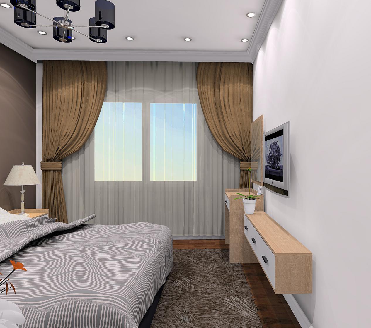 卧室整体的白色调让空间更加干净明亮,电视下方设计简洁的悬空收纳柜并不会给空间增加负担。