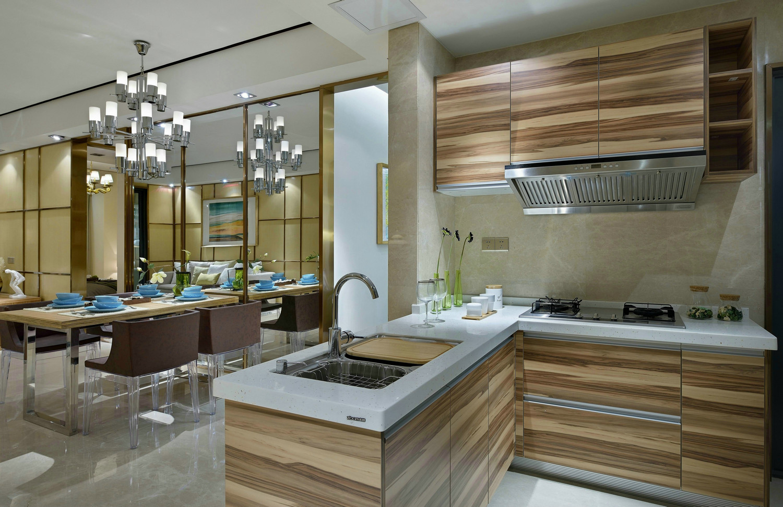 厨房也是非常的简单,原木色橱柜、白色台面,层次分明,又不显杂乱。