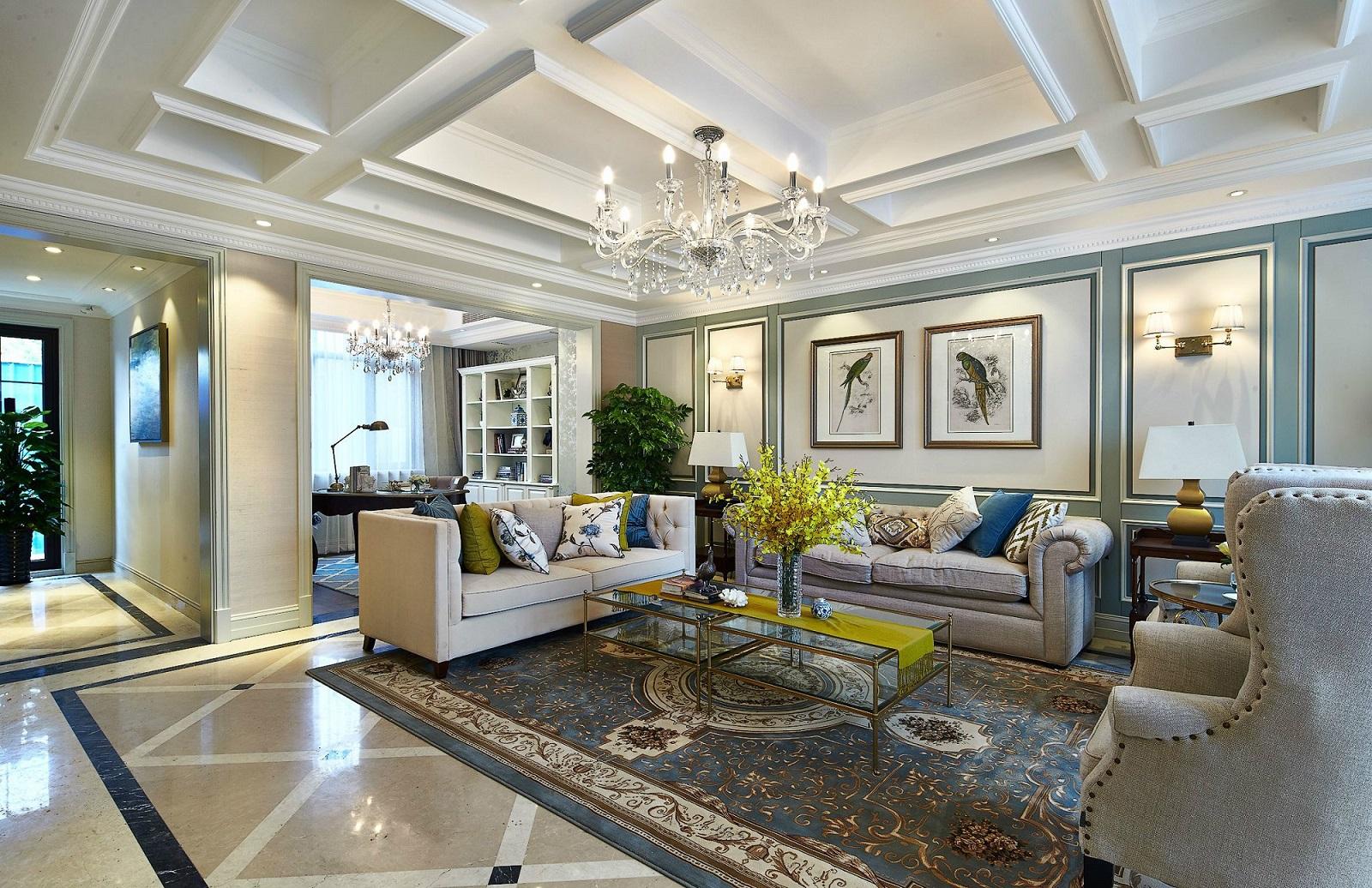 放眼整個客廳給人清新靚麗的視覺感受,凹凸式吊頂讓室內頗有立體感。