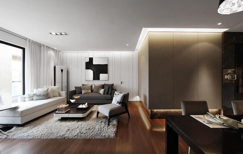 客厅自在黑白灰的三色交错中,显得那么和谐。