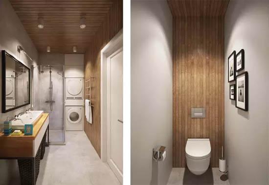 卫浴间功能分区,虽没有日式住宅的四式分离,但是卫生间和浴室分处两个区域,互不干扰。