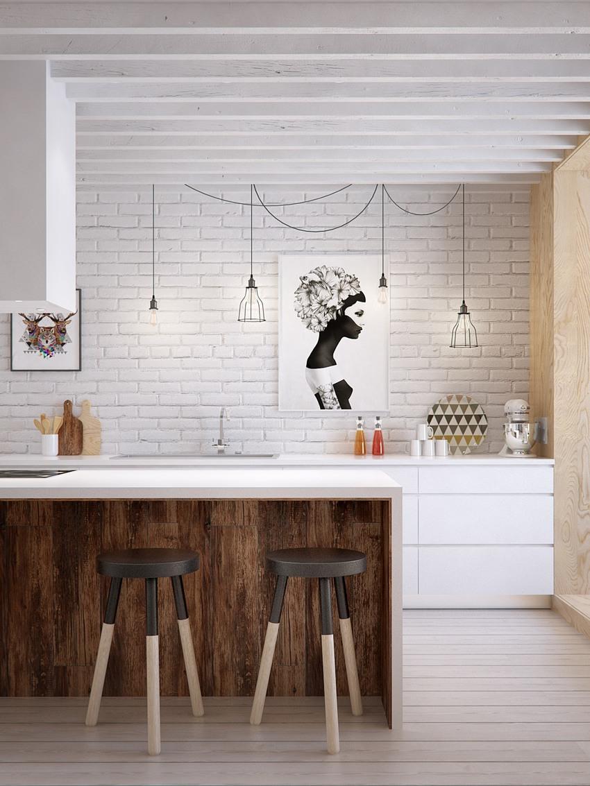 开放式厨房紧凑、干净。