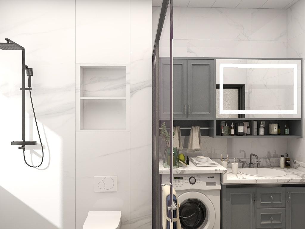 卫生间采用干湿分离设计,壁龛设计增添了淋浴房的收纳功能,冷色收纳柜在白色空间中成为色感点缀。