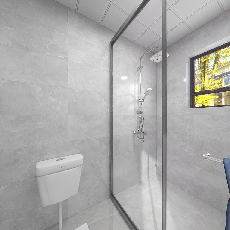 灰色背景墙营造出静谧的卫浴空间,局部采用干湿分离设计,洗澡时谁不会洒得到处都是。