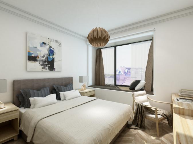 床头板使用毛毡材质处理,铺叙出温暖味道,结合实木办公桌和皮质单椅,让空间变得更简洁大方。