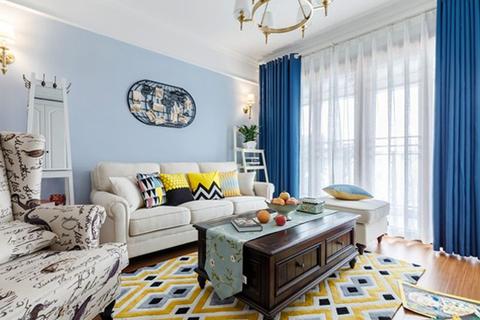 这套100平米左右的美式风格一改常态,通过更轻快的色彩,打造出眼前一亮的美式。