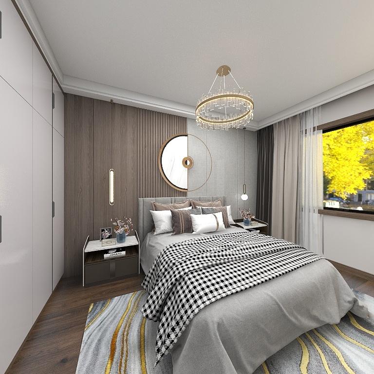 主卧以灰色为主基调,背景墙延续了整体的浅灰色设计,拼接米色饰面提升了室内的颜色层次。