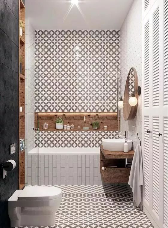 圆形的浴室镜,给空间注入一丝灵动与活泼。对于爱泡澡的朋友来说,浴缸简直是提升幸福感的超级神器。