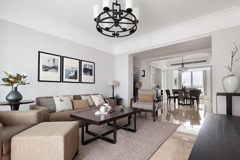 客厅是非常典型的现代线条,地板没有采用木质地板,而是采用了大理石的瓷砖地面,省下了不少预算。