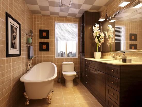卫生间整个空间明亮柔和,收纳柜为空间节省空间。