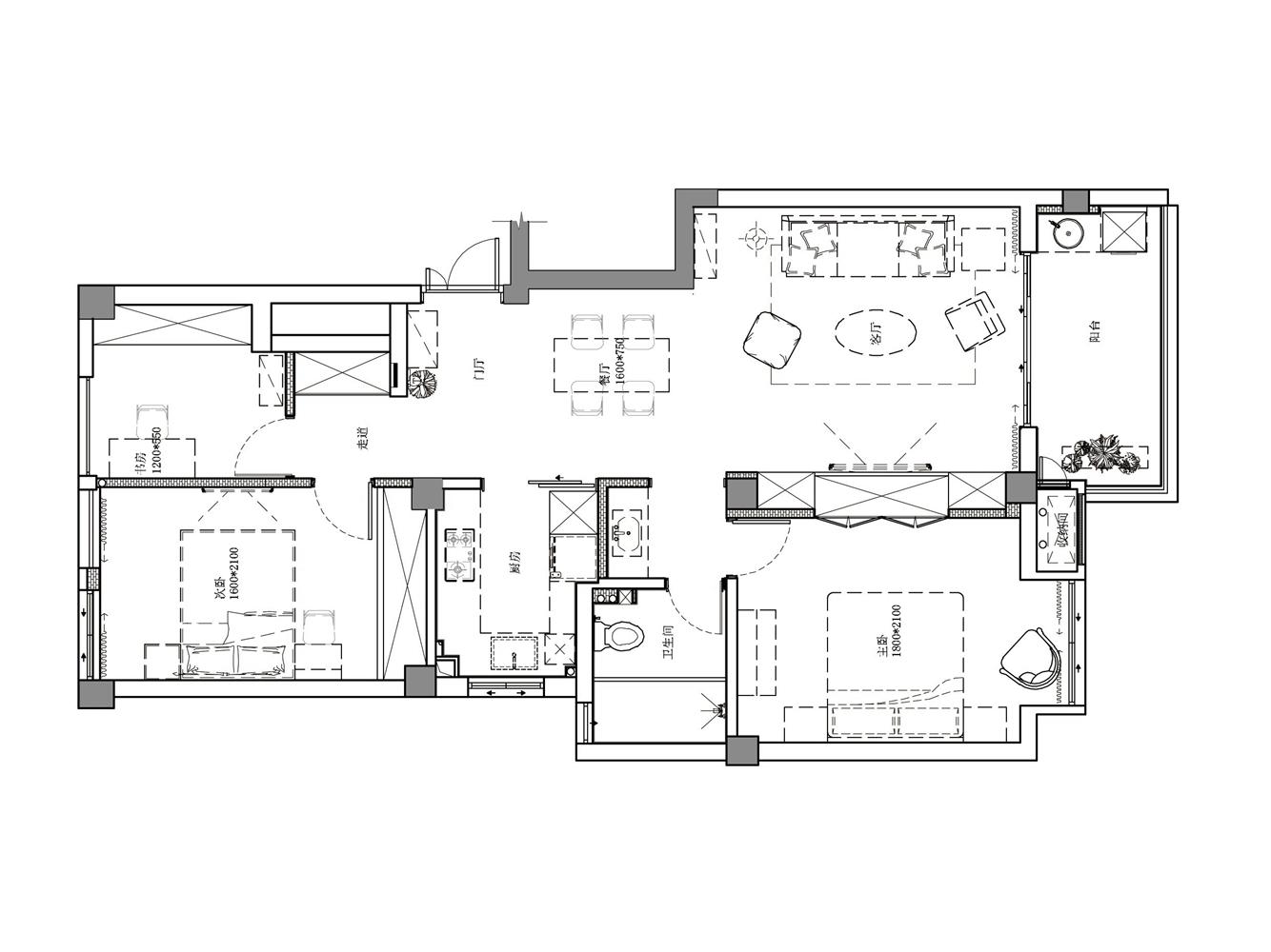 户型方正,两厅相连,一进门空间视觉开阔,采光好通风好,居住舒适。
