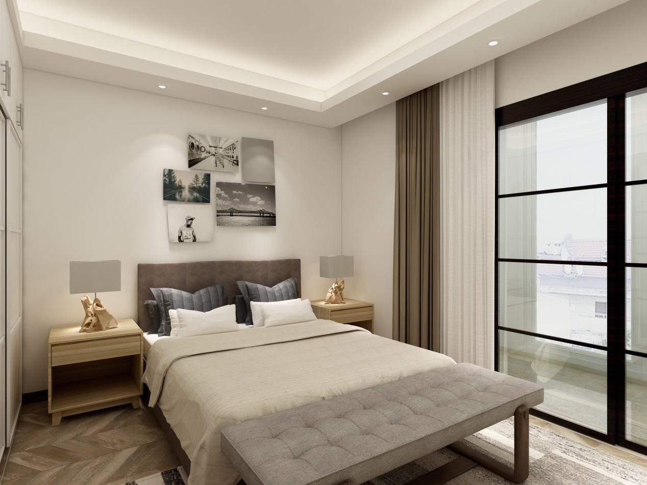 墙面的装饰选用一些现代装饰画组合,增加了空间的层次感。