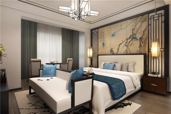 主卧背景墙运用山水画作为点缀,充满意境;两边的的方形壁灯既可以装饰房间,又能营造气氛,格调满满。