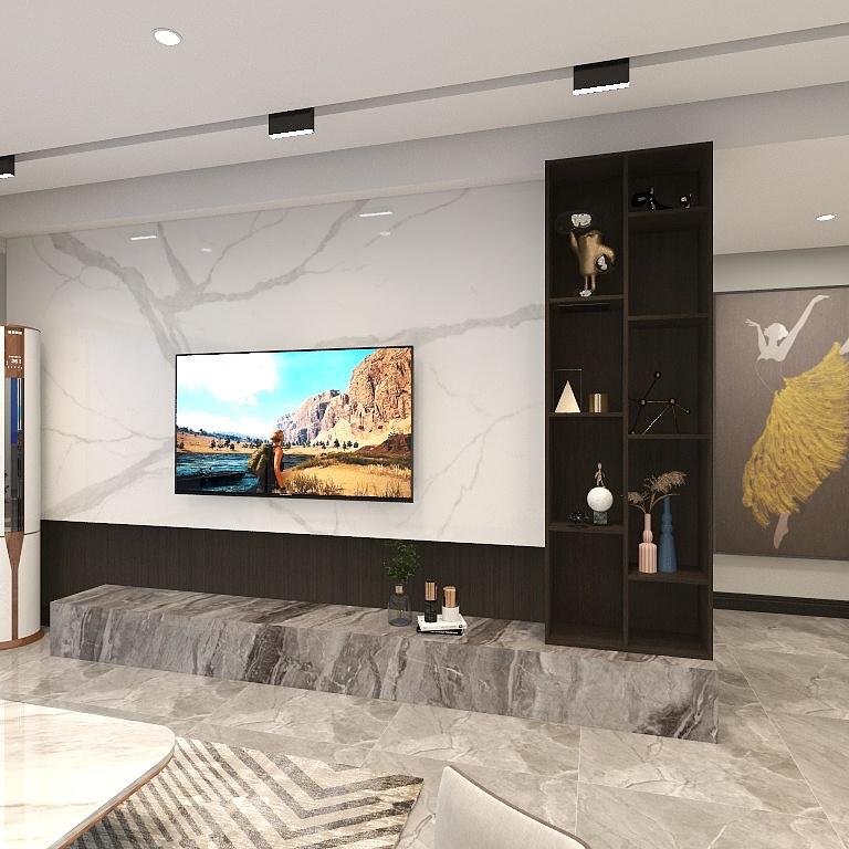 背景墙整洁又大气,局部设计收纳空间,提升了客厅的收纳能力与档次。