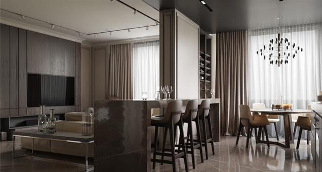 沙发背景墙一边是酒柜,一边是吧台,中间挂了一个青铜器,显得更有艺术感。