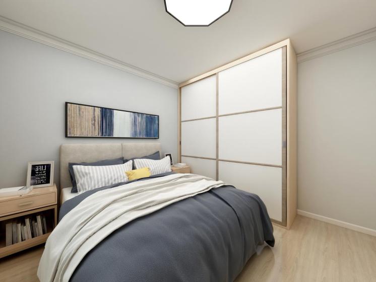 次卧设计相对简单,简洁中透露出生活的质感。最喜欢次卧床头柜设计,将书籍放置其中也是不错的选择呢。