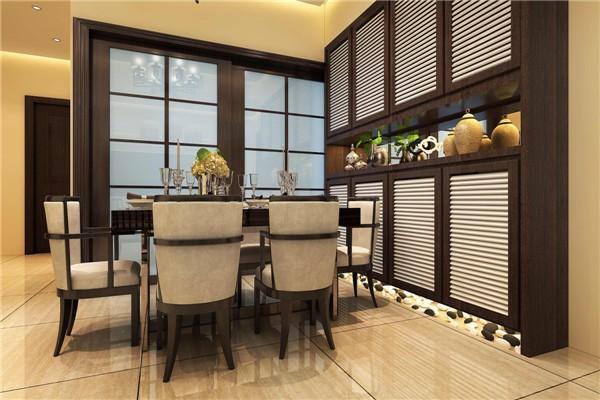 餐厅相邻厨房,比较方便快捷。餐边柜分上下两层的设计,中间空出来的位置可以作为一个展示区。