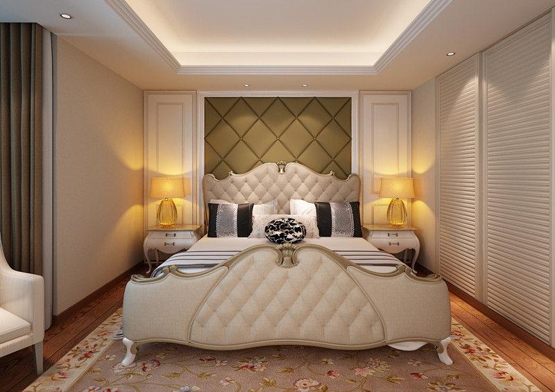 对称的设计手法,让空间显得高贵典雅;花卉地毯烘托着端庄的气质,线条优美的欧式双人床赋予空间轻奢的贵气
