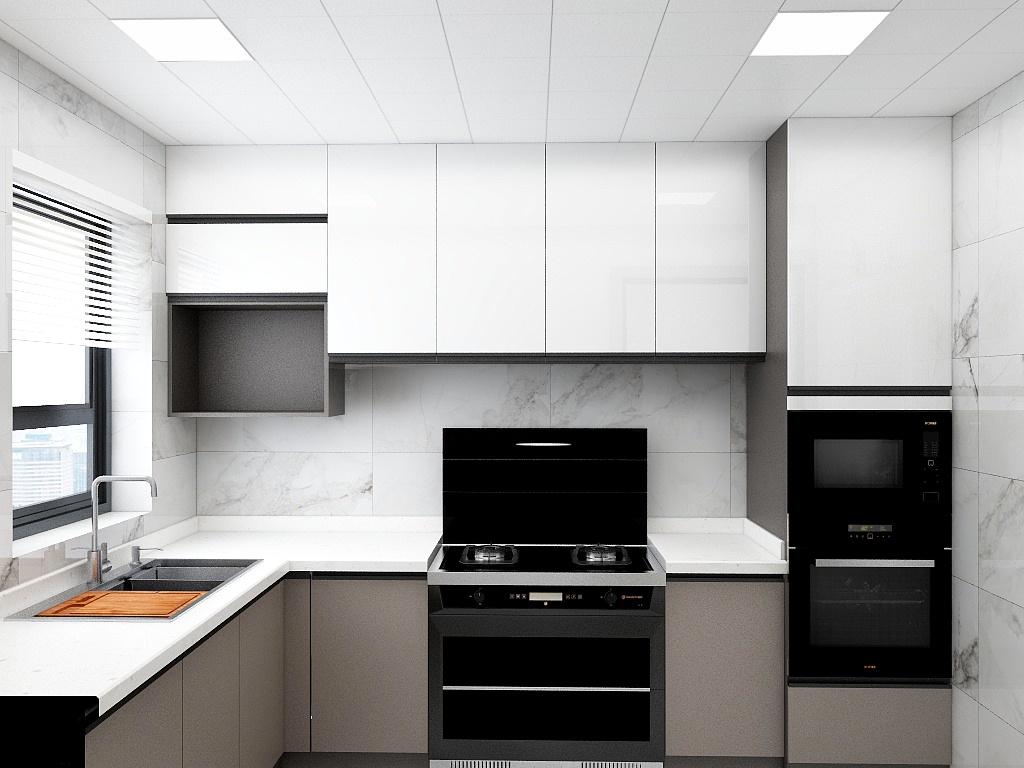 合理的分布设计提高了业主在厨房的效率和安全度,空间结构上,没有一丝的浪费,整齐实用。