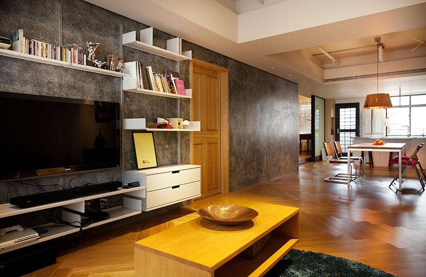 沙发和茶几都挑选了黄色,尽量靠近实木色,整体色调协调,呈现温馨和谐。