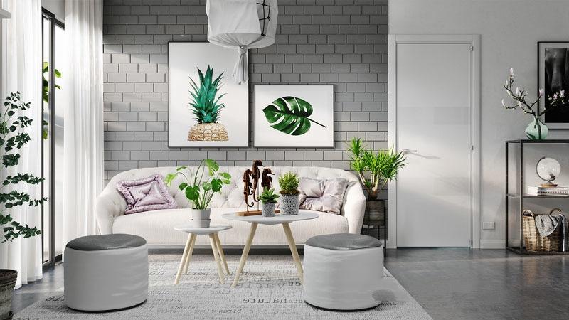 客厅以自流平地面塑造出光洁清爽的氛围。