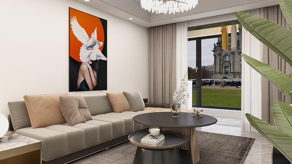 米灰色调的搭配,勾勒出客厅整体的现代感,绒质沙发搭黄色靠垫,给空间增添一抹温馨。