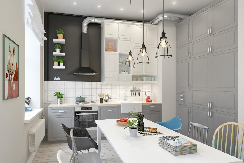 餐厅和厨房是一体式,精致的吊灯,以及侧面做了充足的的收纳空间