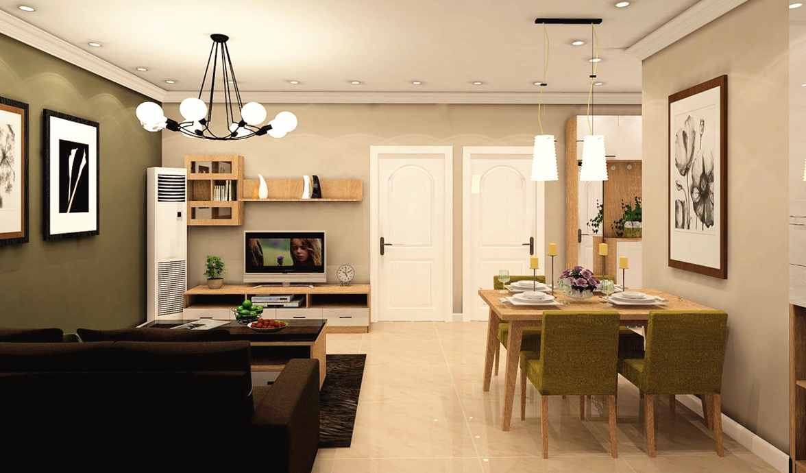 客餐厅一体的设计让空间更为灵活,一边吃饭一边看电视,生活也是一种享受。
