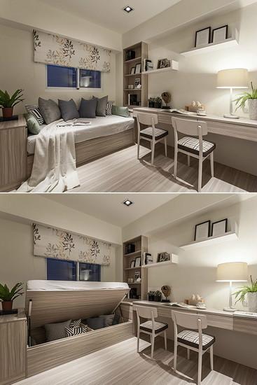大量使用系统家具和系统柜,打造出多功能书房;摆放上掀式床铺增加收纳量,赋予休憩卧榻兼客房机能。