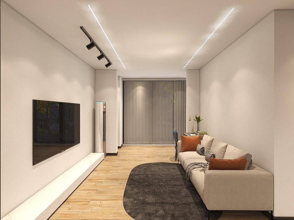 客厅宽敞,一字型沙发布局,让家人之间的交流充满乐趣,共度温馨而美好的时光。