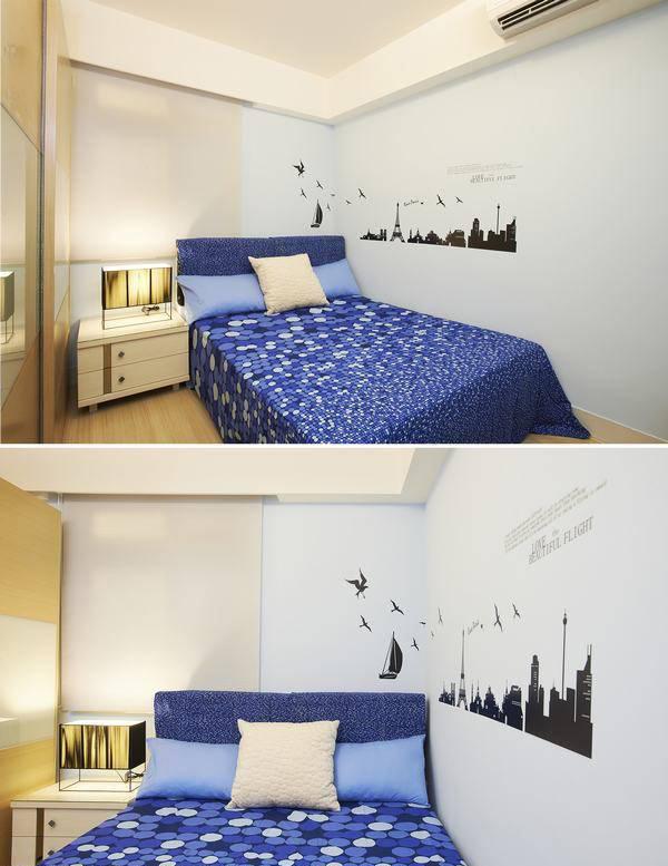 男孩房则以清爽简约的设计,淡蓝色的空间配上壁贴增添空间活泼感。