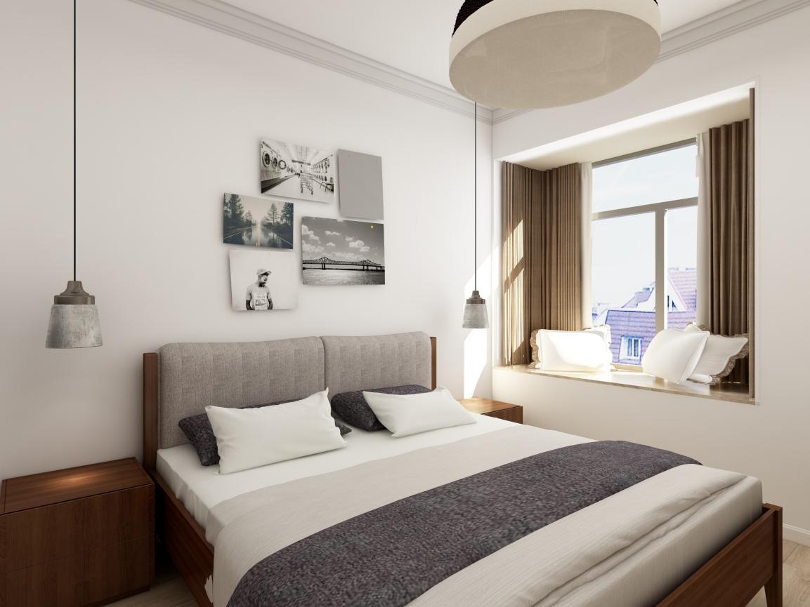 卧室照明也采用具有错落感的吊灯,尤其是床头柜上面的吊灯,一改传统的壁灯或台灯,更富新意。