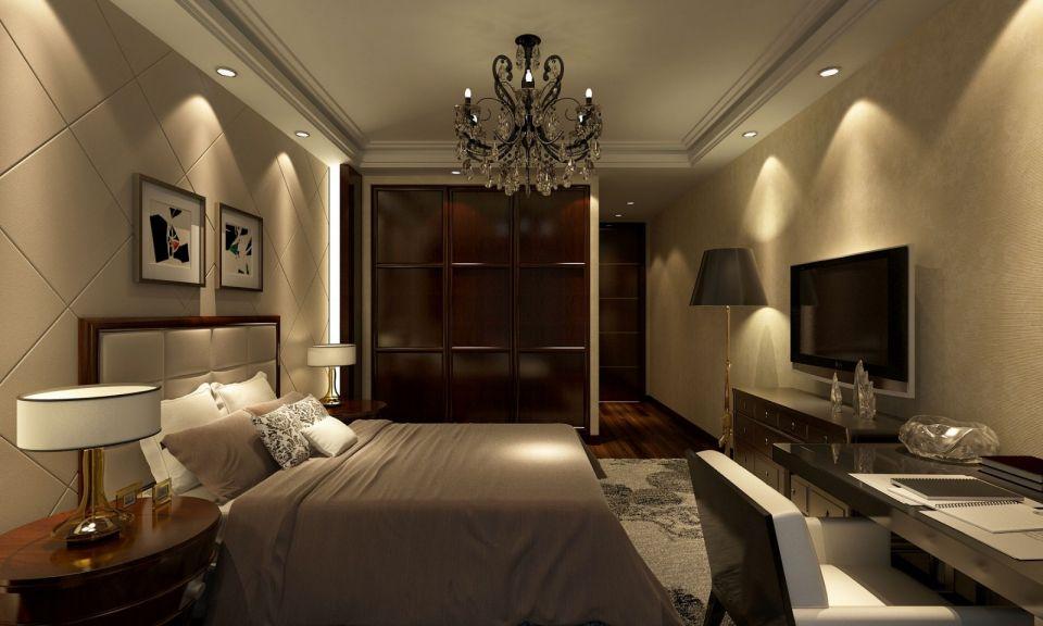 卧室营造出浪漫舒适的感觉,床头背景以护墙板结合软包,富有质感,精致温馨。