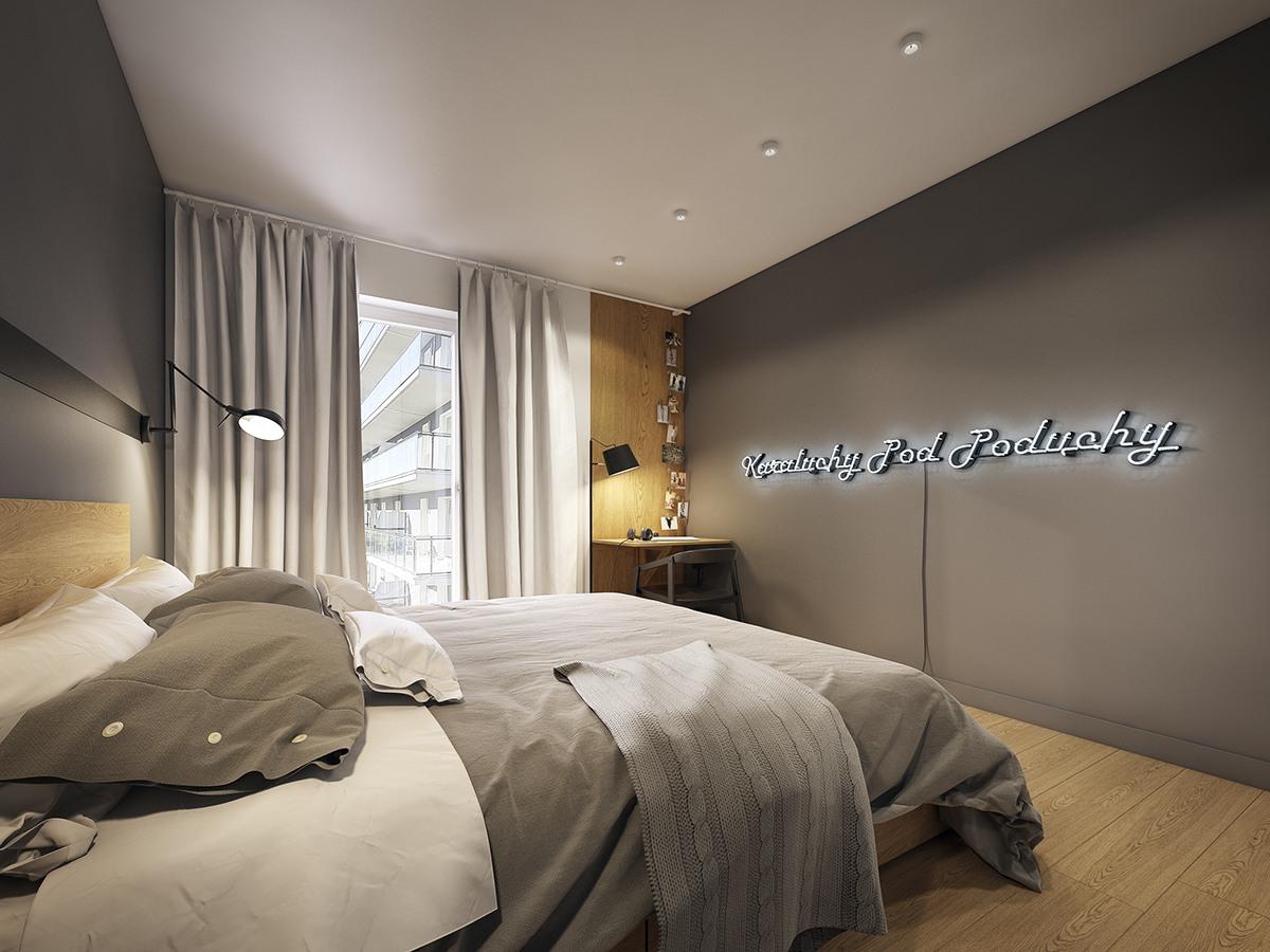 卧室的背景整个镶嵌在黑色中,促进睡眠并充满设计感。一面墙以落地飘窗的设计,极大引进了自然