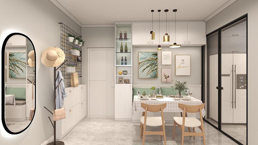 餐厅设计紧凑,整体以白色和木色为主,局部打造为卡座,呈现出鲜亮的用餐空间。