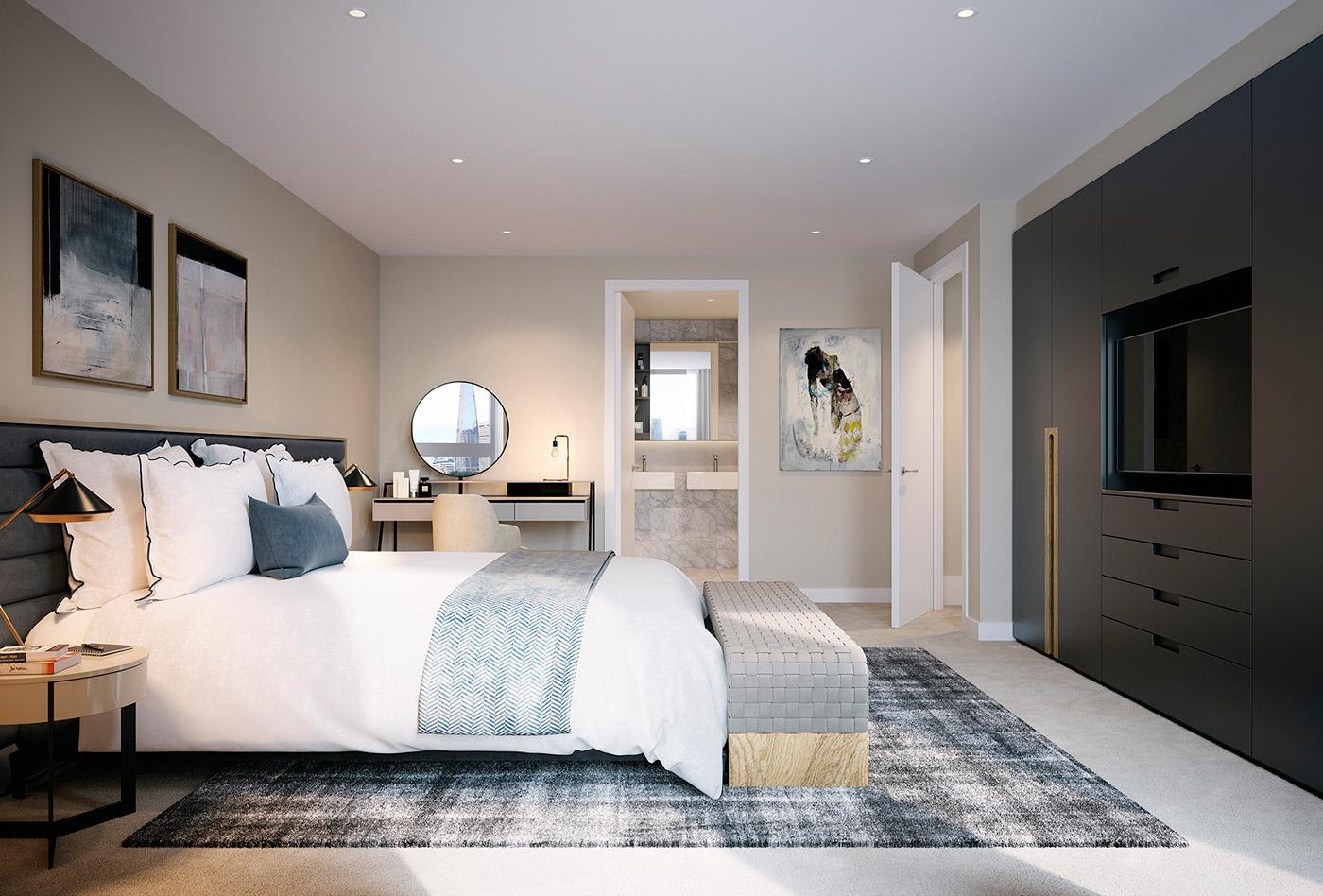 次卧室以黑色与云白为主色调,纯净而清新,造型简约的床与清爽的床品十分和谐。