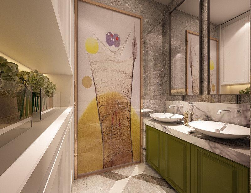 大胆使用的绿色盥洗柜与白色台面、灰色背景墙和谐配搭;盥洗台对面的上下柜,用于日常盥洗物品的隐形收纳。