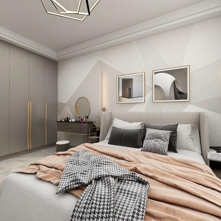 背景墻使用一系列的高級幾何圖案拼接為一體,衣柜、梳妝臺盡顯精致格調。