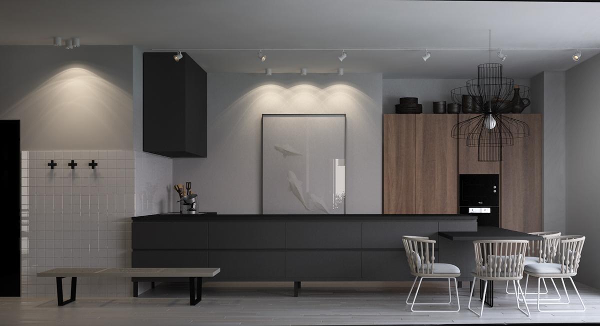 餐厅的设计加上现代的设计手法,打造一个大气、实用的就餐环境,整体氛围又不失木