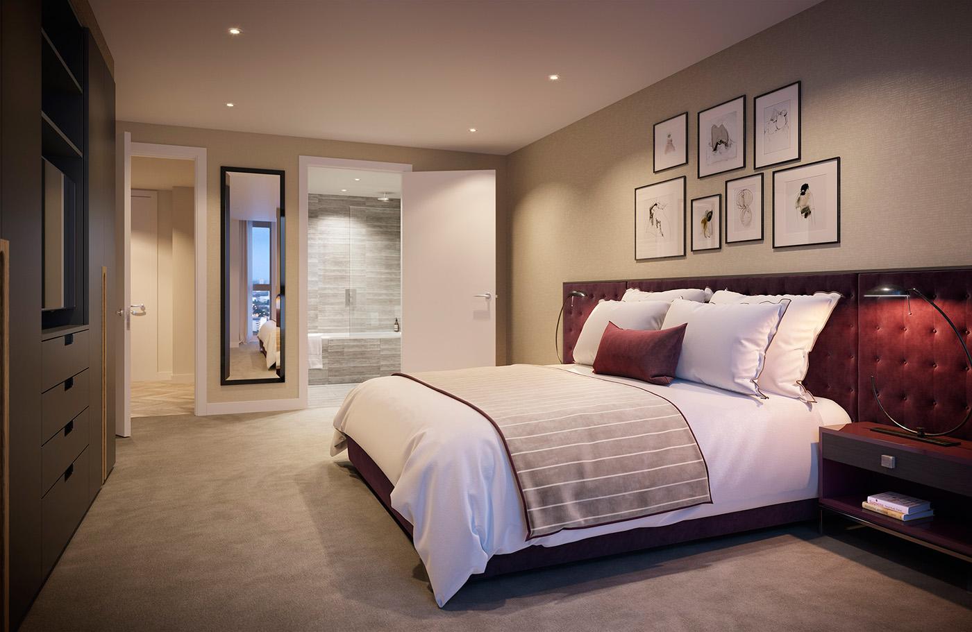 卧室整体感觉让人放松平静,在欧美设计感中,白色与原木的搭配多了一些温润的感觉。