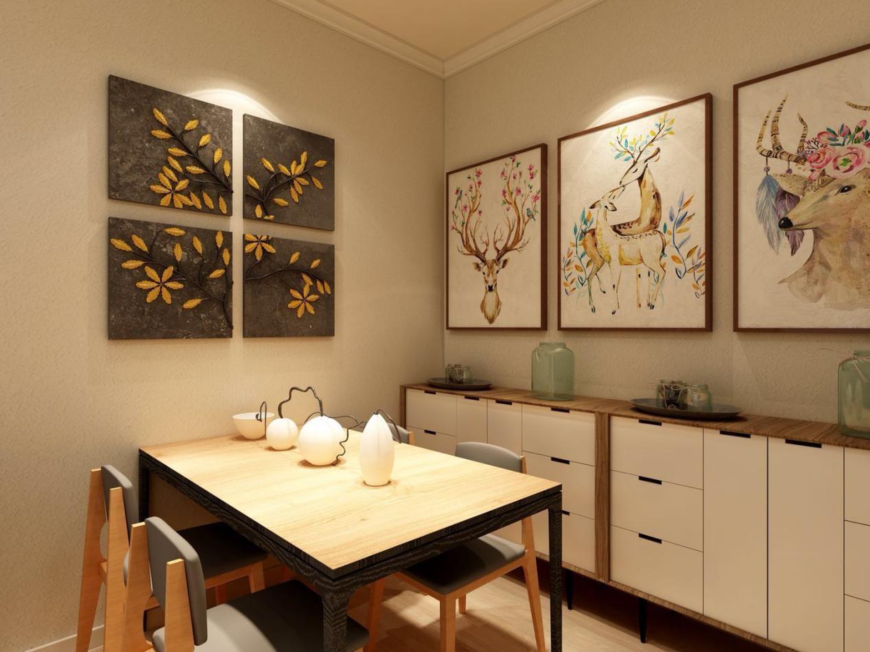 门厅处设计矮体收纳柜,收纳碗筷等厨房用品,平常进门出门的一些小物件比如钥匙、包包等都可以随手放在上面