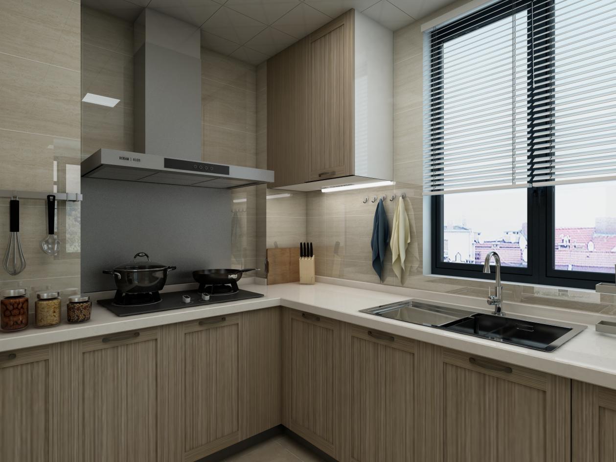 爱空间标配的厨房,内部空间很充裕。厨房窗帘选用简洁的白色百叶窗帘,通风和遮阳效果都非常好。