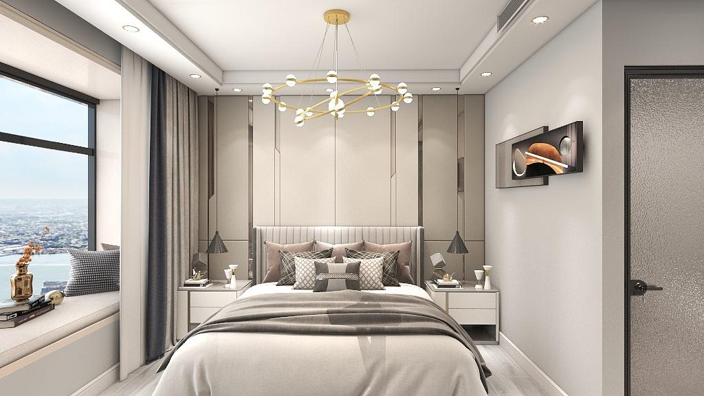 舒适的床头软包和精致的床品,表现着屋主的生活品味,整体档次较高。