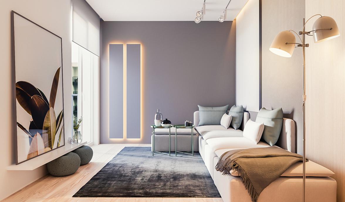 客厅平静得仿佛一幅画,整体色调偏淡偏暖,但紫灰色的背景墙增加了色彩的层次感。