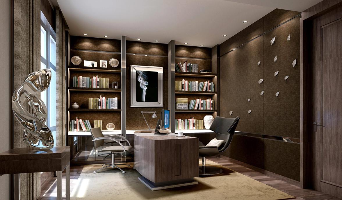 书房大气又沉稳,在这样的空间办公学习,也是一种享受。