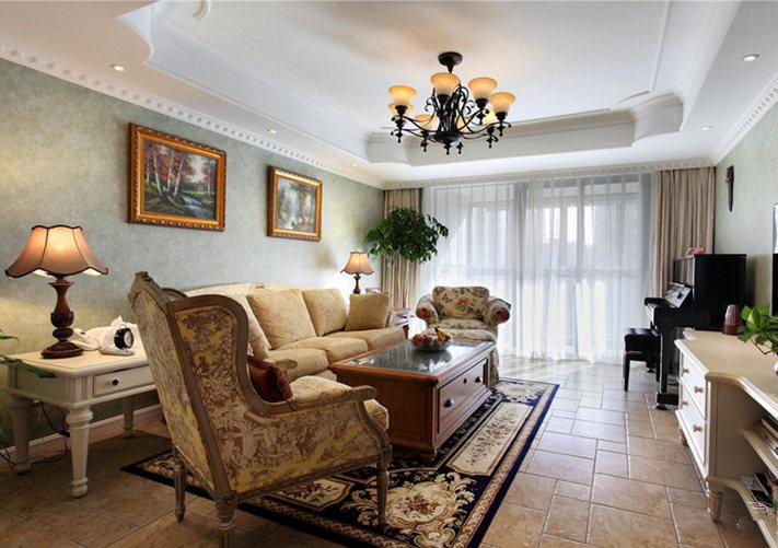 纵观整个客厅,迎面给人一种大气的感觉,复古而不失时尚。